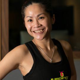Jumping fitness instructor Melissa